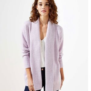 Loft NWT Rib Trim Open Cardigan in Light L…